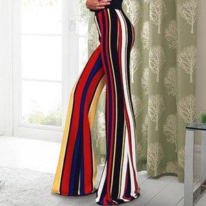 Printemps Rayé Imprimé Femmes Pantalon De Mode Designer Taille Haute Mesdames Capris Casual Lâche Femelle Pané Vêtements