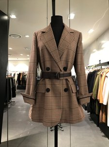 Imprimir la tela escocesa de la moda para mujer de manga larga chaqueta de solapa cuello de las mujeres chaquetas de la vendimia con cordones de lana para mujer Traje