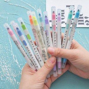 الطلاب برئاسة مزدوجة فسفورية أقلام قرطاسية 12 جهاز كمبيوتر شخصى / مجموعة فسفورية خفيفة الأقلام الملونة رسم صورة زيتية فن أقلام ماركر BH1197 TQQ