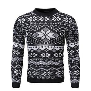 Giorno di Natale Mens Maglioni Designer casuali dimagriscono Mens Maglioni Moda Pullover Christmas Snow Stampa Abbigliamento Maschi
