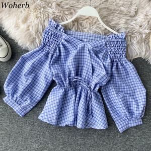 Woherb V cuello largo de la manga de la linterna camisas de tela escocesa delgada de la cintura ata para arriba el dulce de la blusa de las mujeres del hombro Estiramiento de Corea moda de Nueva 91517