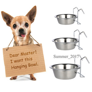 Edelstahl Hängen Haustier Hund Katze Cage Bowl Praktische Zwinger Coop Cup Schüssel für Hund Vogel Kaninchen