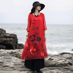 Johnature Vintage Loose Print Dresses Three Quarter Sleeve O-neck 2020 New Autumn Clothes Flower Comfortable Women Dress