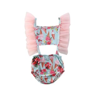 2020 Kids Baby Girls Swimwear Cute Ruffle Ice cream Bikini Swimwear One Piece Swimsuit Summer Bathing Suit Beach Wear