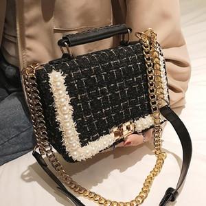 Designer borsa delle signore catena della spalla Designer- della moda di New Female Piazza Tote bag Qualità di lana perla delle donne Borsello