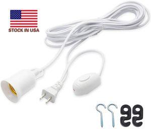 Extensão Mudar Cord - 20FT Lanterna cabo de suspensão com E26 E27 soquete On / Off Button Ligue Pendant Iluminação para Cozinha Planta Bedroom