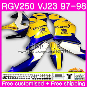 Bodys For SUZUKI SAPC RGV-250 VJ22 VJ21 RGV 250 97 98 99 Frame 19HM.23 RVG250 VJ23 RGV250 VJ 21 22 23 1997 1998 1999 Fairing Hot Blue SALE