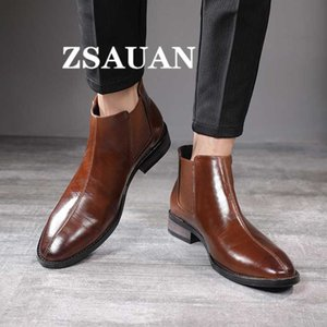 ZSAUAN British Business Style Men Ankle Boots Men Pointed Toe Fashion High Top Boots Leather Vintage