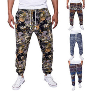 Bohemian Pamuk Keten Pantolon Erkekler Çiçek Koşucular High Street Sonbahar Sweatpants Casual Gevşek Pantolon Vintage Pantalon Homme yazdır