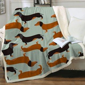 Bedding Sherpa Throw Blanket 3D Dachshund Dog Printed Bedspread Purple brown Plush blanket fleece throw