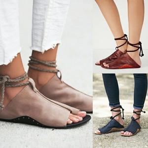 Hot Summer Femmes populaires Sandales Rome style de couleur pure Slipper Mesdames FLAT Code du Bas Big Simplicité Flip Flop Chaussures Casual PU
