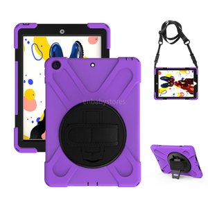 E Inch For Ipad 10.2 (2019) 360 Degree Rotating Built Stand Kickstand Shockproof Protective Case Cover With Shoulder Strap