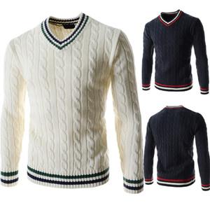Herren Pullover Pullover Mode Panelled Natural Color Pullover beiläufige V-Ausschnitt Langarm-Pullover Kleidung für Herren
