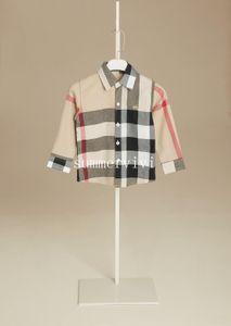 Chicos camisa de tela escocesa estilo de diseñador para niños solapa camisa de manga larga camisa de algodón para niños Tops casuales Marca Ropa Khaki Red Blue A01141