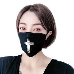 Fashion Designer Mask New Style for Women Latin Cross Rhinestone Party Mask Face Decoration Sparkling Women Glittering Face Mask Cover