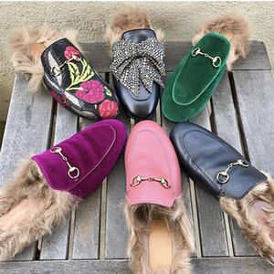 2019 роскошные мужчины женщины мех мул тапочки кожа плоские замшевые туфли цветок змея мул мода открытый тапочки зимняя обувь размер 36-46 с коробкой