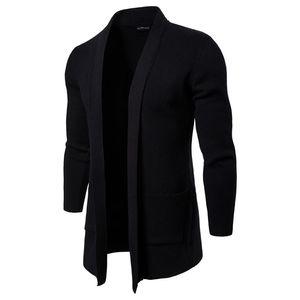 Mens Outono Primavera Abrir Ponto suporte sólido Collar Long Sleeve Casacos Casual casacos de moda malha com bolso Homens Jackets