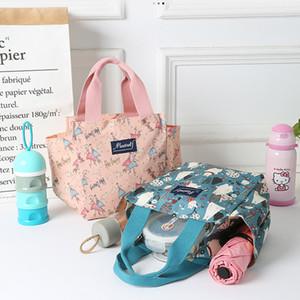Nueva lona del estilo de totalizadores de la manera impermeables mamá bolsas adicionales a gran número de Bento Box Lunch bolso para las mujeres llevan la bolsa de pañales