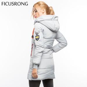Herbst-Winter-Jacke Frauen mittlere lange mit Kapuze unten Parka volle Hülsen-Reißverschluss-dünne Jacken Mäntel Epaulet Causal Outwear FICUSRONG