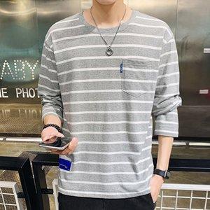 الرجال الرجال الطلاب في سن المراهقة أزياء طويلة الأكمام تي شيرت O-الرقبة تي شيرت مقلم قمم الربيع الخريف أسلوب بسيط 3 ألوان عارضة B103002Z