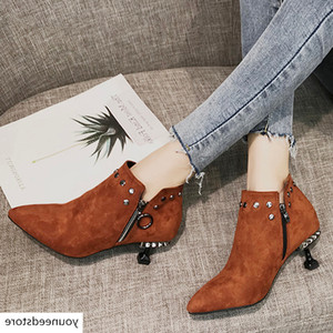Shoes Women Ankle Boots Heels 2019 Women's Fashion Solid Pointed Toe Crystal Zipper Thin Low Heel Boots Shoes botines mujer 2019