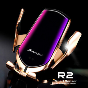 R2, R1 10W Kablosuz Araç Şarj Kızılötesi Oto Kelepçe Hızlı iPhone Huawei Samsung Smart Sensor için Araç Telefonu Tutucu Dağı Şarj yükseltme