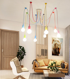 Art E27 Luzes de Natal presente moderno colorido Luzes pendentes Aranha candelabro luminária Indoor Lamp US Decoração da Liquidação