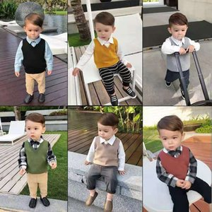 2019 Autumn and Winter New Style Class A 100% cotton Children's Sweater Vest Boys Girls Knitted sweaters waistcoats