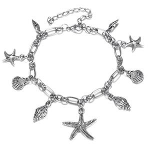 Bohemian Starfish Shell Colgante Tobilleras Para Mujer Moda Color Plata Concha Tobillera Pulseras En La Pierna Boho Beach Accesorios