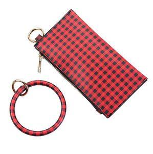 Buffalo Plaid Bangle Bracelet porte-clés Porte-clés Porte-monnaie pour femme ronde Porte-clés OOA7367 Wristlet