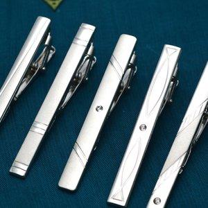 Erkek Hediye için Erkekler Düğün Kravat toka Gentleman Tbar Kristal Tie Pin İçin Yeni Basit Metal Gümüş Kravat Klip