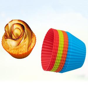 3inch Силиконовые кекс лайнеры Плесень SGS торт выпечки Сковороды Muffin Случаи круглой формы Cup Cake Mold выпекание Кондитерские инструменты 8 цветов VT1353