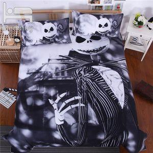 Incubo prima di Natale Zucchero Skull 3D Comforter Bedding Re Queen Size Nightmare Letto copripiumini lenzuola nere Set