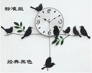Wholesale- bird wall clock 2016 wall clock home decoration decor single clocks painting watch morden design birds unique gift craft t6
