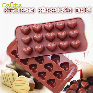 Atacado- 1 pc 15 buracos Coração Forma Mold Chocolate DIY Silicone Bolo Mold Decoration Jelly Ice Baking molde do presente do amor Chocolate Moldes