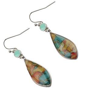 Necklace Earrings Set Waterdrop Teardrop Opal Crystal Rhinestone Stone Necklace and Hook Earrings for Women Girls Gifts