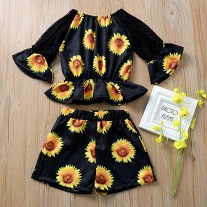 2020 Bebek Kız Giyim Seti Çocuk Bebek Bebek Giyim Kız Dantel tişört Ayçiçeği Şort Kıyafet Set Print Tops