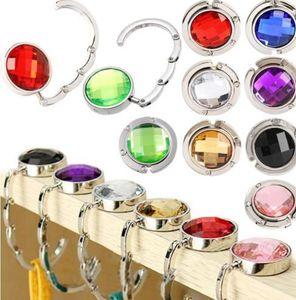 Rhinestone Desk Tabela gancho portátil bolsa Folding Bag Handbag Desk Hanger Saco múltipla dobrável Bolsa Bag Gancho Titular KKA6595