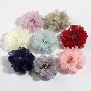"""200PCS 5CM 2"""" Buket Düğün Craft Ev DIY Dekorasyon için maçlar ile Güzellik şifon Yapay Saç Çiçek Çiçeği"""
