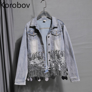Короба Осень Нового Sequined Вышивка Hole Streetwear пальто корейские женщины кисточка Denim Outwear Лоскутной Bomber Jacket 78241