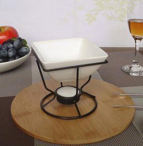 Керамическая шоколадная плавильная печь белый фарфоровый сыр шоколадный фондю набор с черной железной чайной горелкой и вилками HOT GGA2850