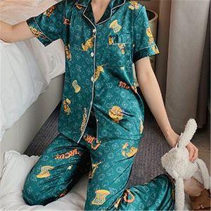 Sexy Design Pajamas Summer Ice Silk Pajamas Cartoon Printed Short-Sleeved Trousers Summer Thin Silk Ladies Home Service Suit