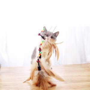 Cat Rod vara Cat Toy engraçado Kitty Cat Pet fio pequeno sino Feather engraçado Suprimentos XD22825