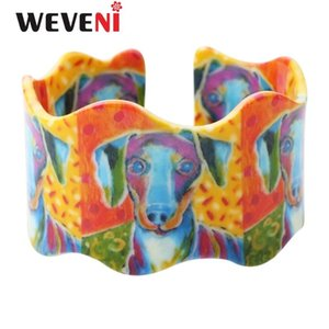 WEVENI Wide Labrador Printing Love Dog Bangles Bracelets 2020 New Fashion Acrylic Jewelry For Women Original Girl Accessories