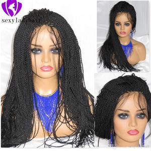 흑인 여성 아프리카 계 미국인 꼰 하바나 아기의 머리 레이스 가발을 트위스트에 대한 200density 전체 마이크로 꼰 가발 합성 레이스 프런트 가발