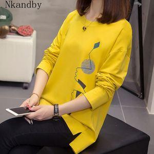 Nkandby Plus Size Women T-shirts Autumn Clothes Loose Graphic Tees Shirts Oversized Split Long Sleeve Print Korean Lady Tshirts