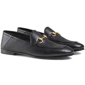 Klasik Tasarımcı deri Meslek Ayakkabı Yuvarlak kafa Metal Düğme kadın Elbise ayakkabı Büyük boy kadın ayakkabı
