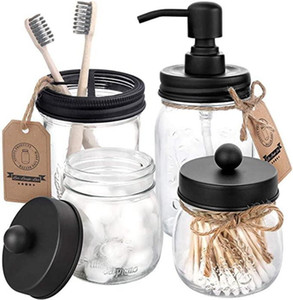 Mason Jar tampas Set (4pcs) - Jar não incluído Titular -Preto sabonete Líquido Escova Boticário armazenamento Jars Tampas de Banho Acessórios IIA155