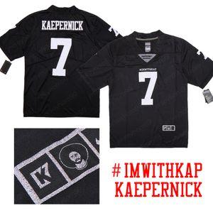 Colin Kaepernick 7 IMWITHKAP K7 prata logotipo especial Black Edition American Football Jerseys gratuito o envio de mercadorias em estoque