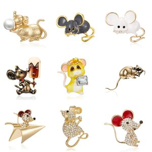 S1046 Hot Fashion Jewelry Year of the Rat Diamond Brooch Cartoon Mouse Brooch